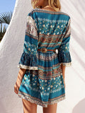 Green Lace-Up Geo-Tribal Print Bell Sleeve Dress