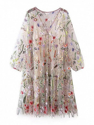 White V-Neck 3/4 Sleeve Floral Embroidered Lining Dress