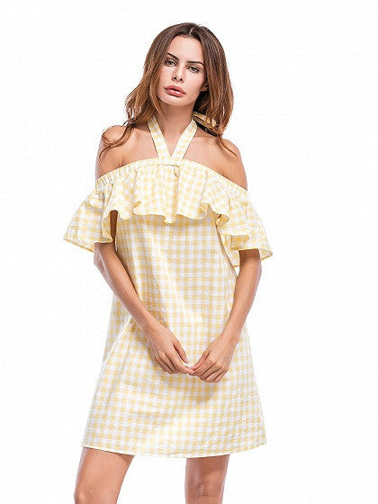 Yellow Checkered Halter Neck Ruffle Trim Mini Dress