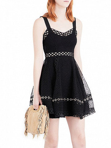Black Cut Out Lace Back Zip Skater Dress