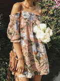 Pink Floral Print Short Sleeve Off Shoulder A-Line Dress