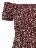 Burgundy Floral Print M-Slit Off Shoulder Maxi Dress