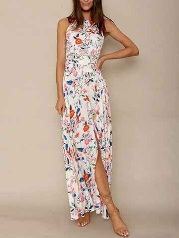 White Floral Print Halter Neck Split Strappy Back Maxi Dress