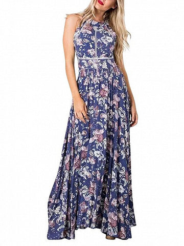 Blue Floral Print Halter Neck Elastic Waist Maxi Dress