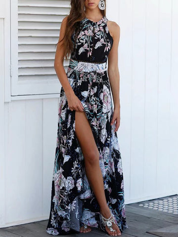 Black Floral Print Halter Neck Elastic Waist Maxi Dress