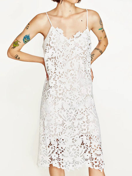 White Spaghetti Strap V-Neck Laser Cut Lace Midi Dress
