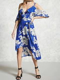 Blue Cold Shoulder V-Neck Floral Print High Low Dress