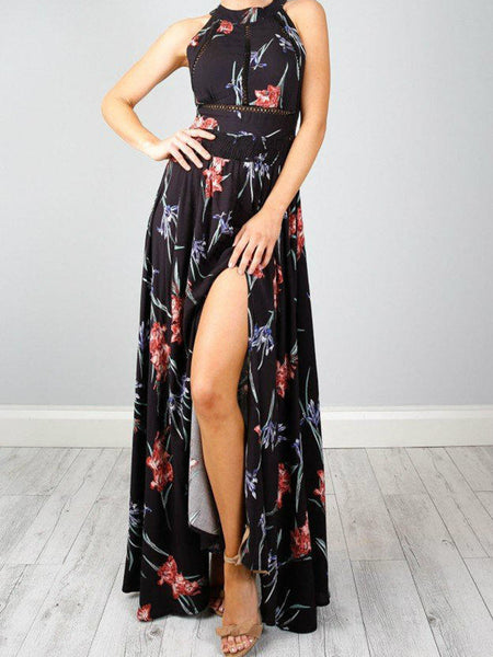 Black Floral Print Halter Neck Split Strappy Back Maxi Dress