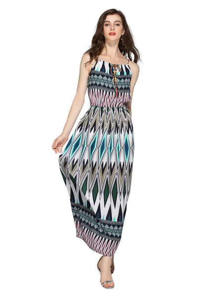 Multicolor Geo Print Braided Tie Front Maxi Dress