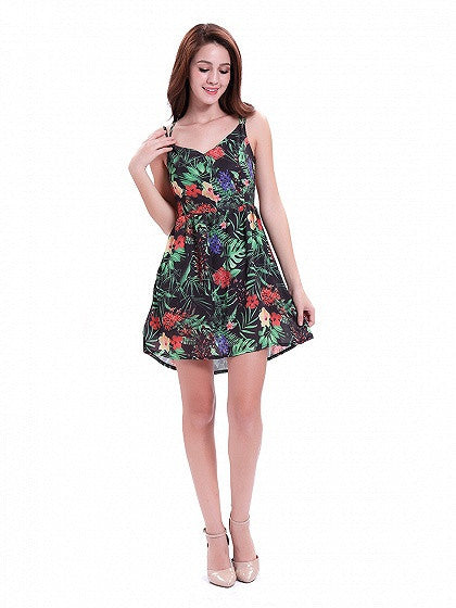 Black Tropical Print V-Neck Spaghetti Strap Cross Back Mini Dress
