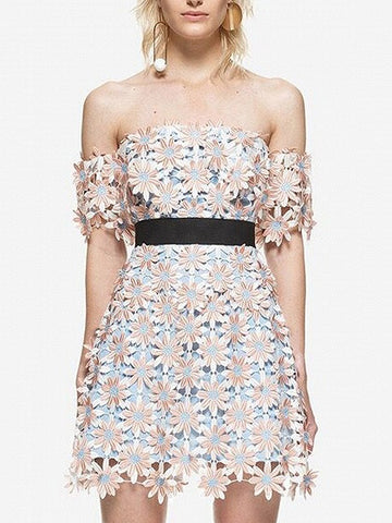 Pink Cut-Out Daisy Off Shoulder Lace Mini Dress