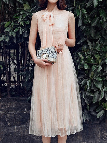 Beige Sleeveless Tie Neck Ruched Tulle Pleated Maxi Dress