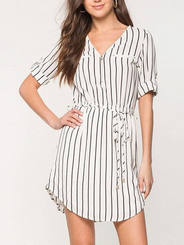 White Stripe Front Zip Secret Pocket Self Tie Roll Sleeve Dress