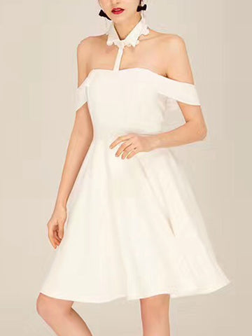 White Off Shoulder Halter Neck Collar Shirt Dress