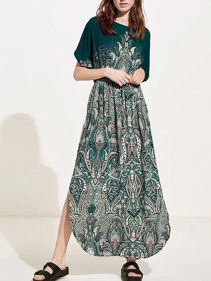 Green Paisley Print Open Tie Back Curved Hem Maxi Dress