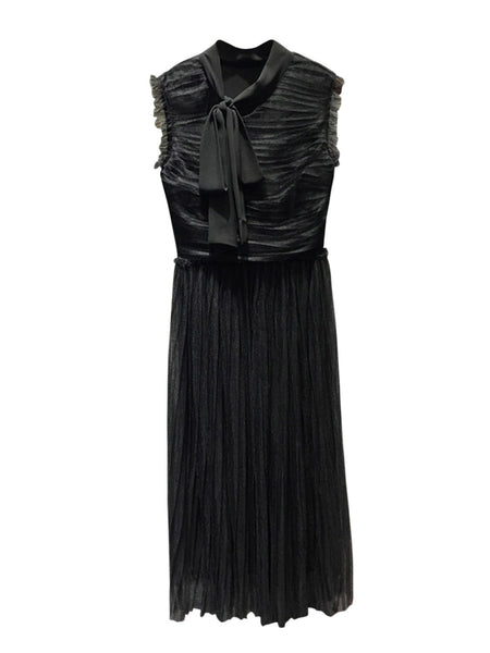 Black Sleeveless Tie Neck Ruched Tulle Pleated Maxi Dress