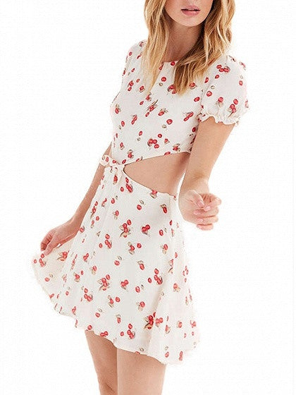 White Cherry Print Short Sleeve Cut Out Tie Front Skater Dress