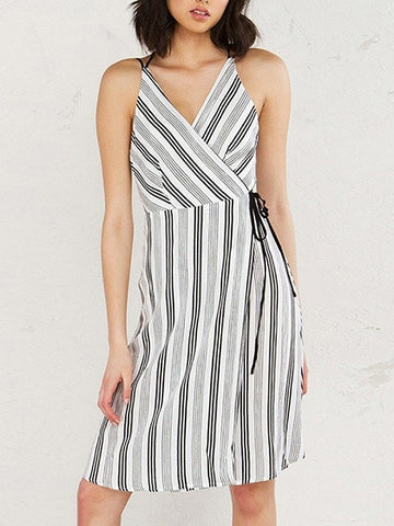 Black and White Stripe Cross Back Tie Wrap Dress