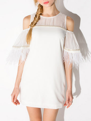 White Mesh Panel Cold Shoulder Feather Trimmed Dress