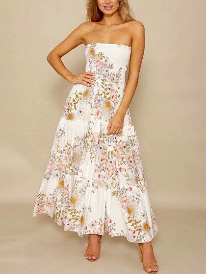 White Floral Print Stretch Tube Maxi Dress