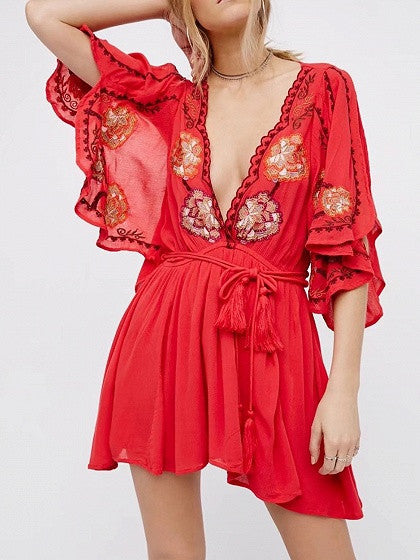Red Deep V-Neck Tassel Tie Ruffle Sleeve Dress