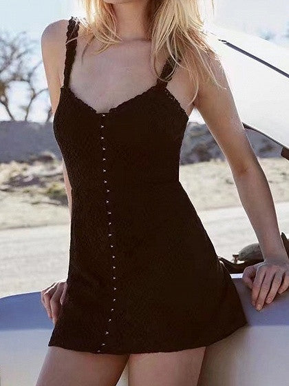 Black Hook Front V-Neck Bodycon Lace Dress