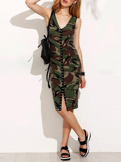 Green Camo Hooded V-Neck Eyelet Tank Dress