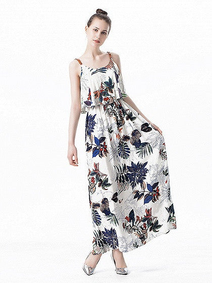 White Floral Print Buckle Strap Layered Top Dress