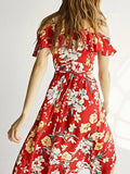 Red Deep V-Neck Open Shoulder Floral Print Dipped Hem Dress