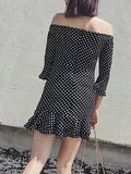 Black Polka Dot Print Off Shoulder Zip Back Flared Sleeve Dress