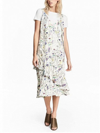 White Floral Print V-Neck Ruffle Hem Midi Dress