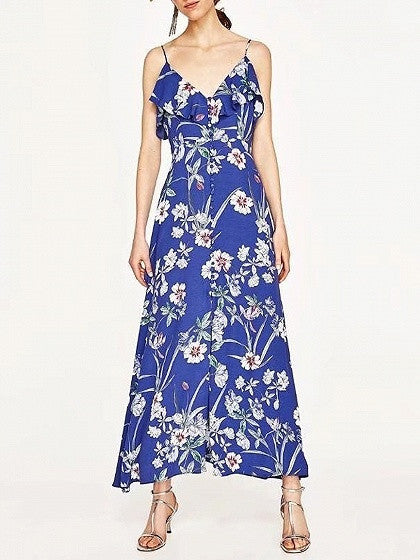 Blue V-Neck Ruffle Trim Floral Print Button Front Dress