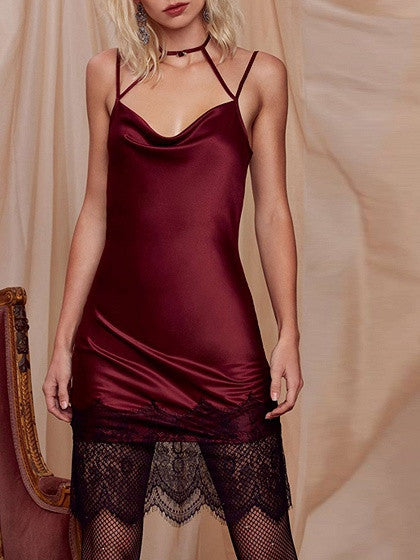 Burgundy Lace Hem Choker Strappy Open Back Cami Slip Dress