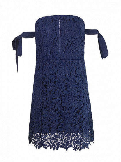Navy  Cutwork Lace Off Shoulder Tie Sleeve Lace Mini Dress