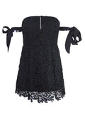 Black Cutwork Lace Off Shoulder Tie Sleeve Lace Mini Dress
