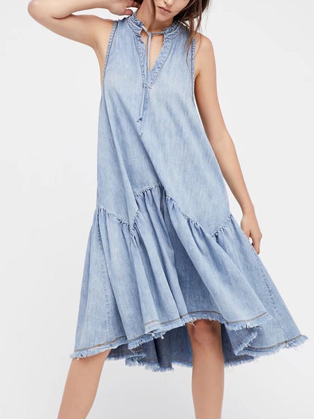 Blue Denim V-Neck Tie Front Pephem Midi Dress