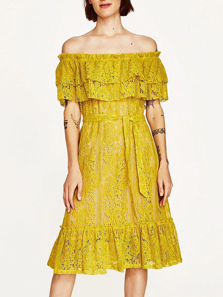 Yellow Double Layered Off Shoulder Tie Waist Midi Lace Dress