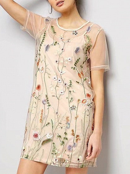 Pink Floral Embroidery Short Sleeve Cami Lining Mesh Mini Dress