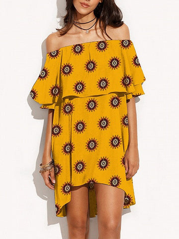 Yellow Kaleidoscope Print Off Shoulder Layered Hi-Lo Dress