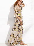 Multicolor Random Print Wrap Tie Waist Bell Sleeve Dress