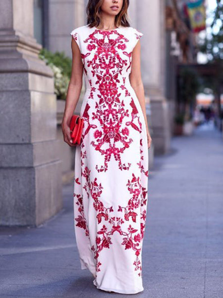 White Round Neck Cap Sleeve Tile Print Maxi Dress