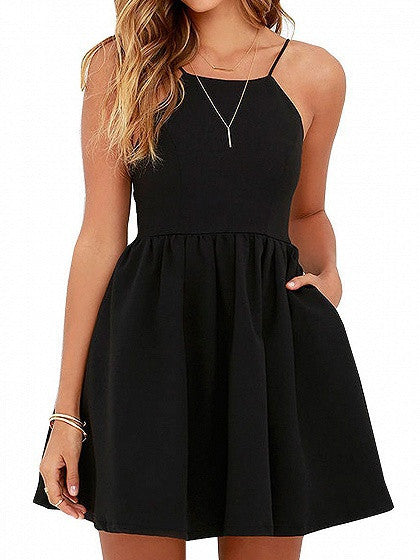 Black High Waist Backless Side Pocket Skater Mini Dress