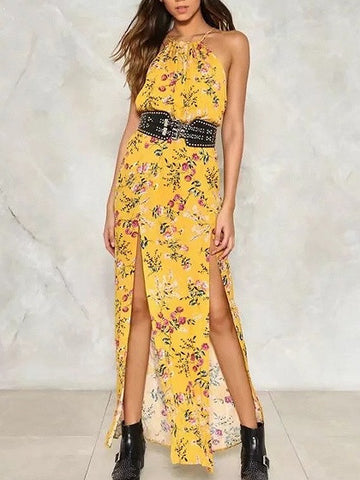 Yellow Floral Print Halter Neck M-Slit Maxi Dress