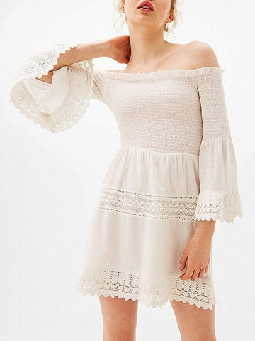 White Stretch Off Shoulder Bell Sleeve Laser Cut Lace Trim Mini Dress