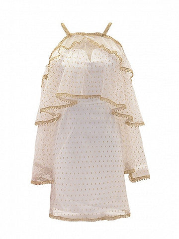 White Long Sleeve With Detachable Sheer Mesh Cape Shift Mini Dress