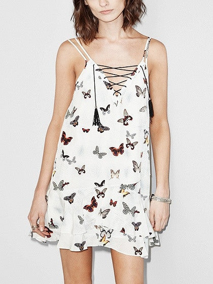 White Butterfly Print Adjustable Strap Lace Up Front Ruffle Trim Mini Dress
