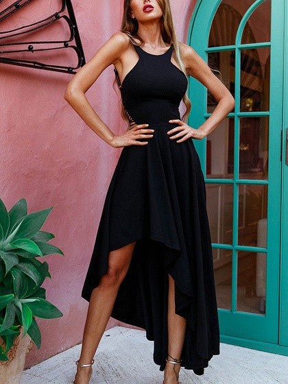 Black Sleeveless High Low Halter Strappy Back Maxi Dress