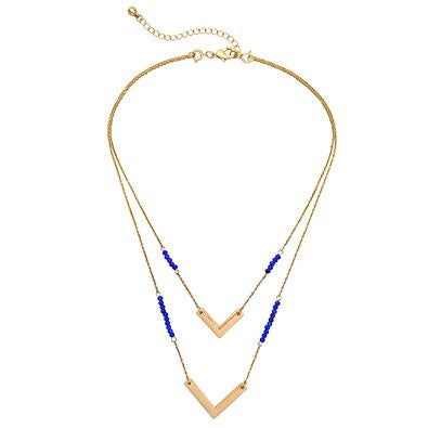 Multi Level Deep Blue Round Bead Fashion Necklace