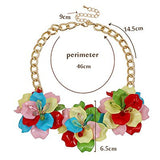 3 Flowers Resin Rhinestone Crystal Trendy Necklace