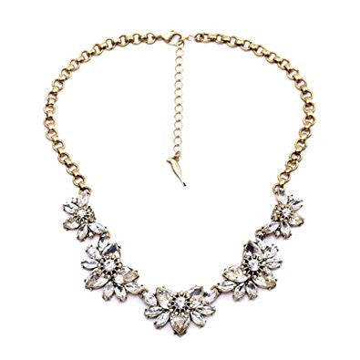 Rhinestone Crystal Exaggerated Flower Fashion Necklace Women